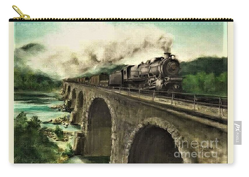 Steam Engine Carry-all Pouch featuring the painting Over the River by David Mittner