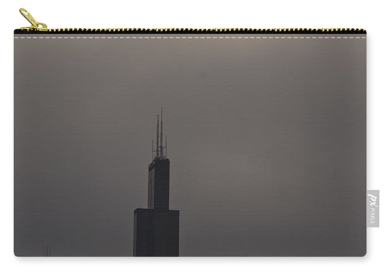 Chicago Windy City Skyline Skyscraper Willis Tower Sears Urban Metro Sun Cloud Cloudy Carry-all Pouch featuring the photograph Over The Willis Tower by Andrei Shliakhau