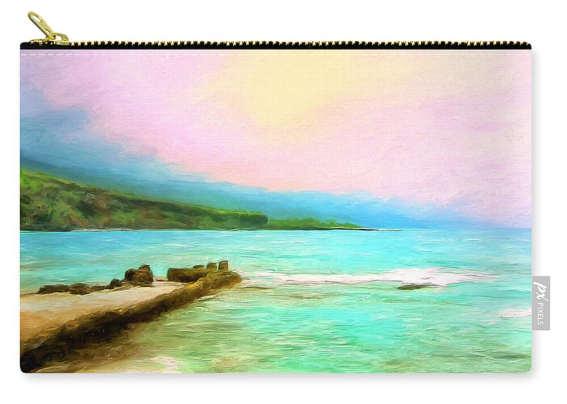 Napoopoo Beach Park Carry-all Pouch featuring the painting Overcast Sunset At Napoopoo Beach Park by Dominic Piperata