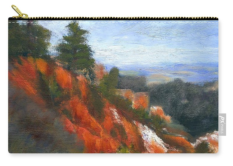 Southwest Carry-all Pouch featuring the painting Overlook by Gail Kirtz