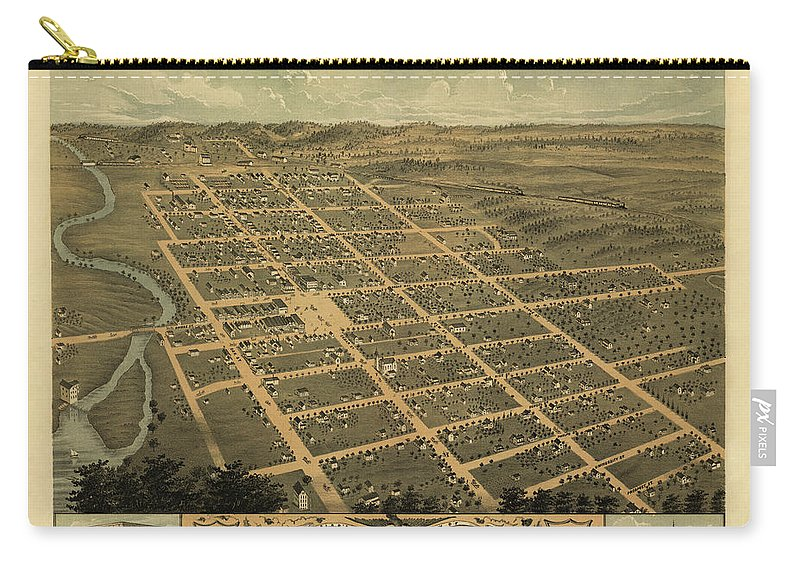Landscape Carry-all Pouch featuring the mixed media Owatonna, Minnesota 1870 by MapResearcher