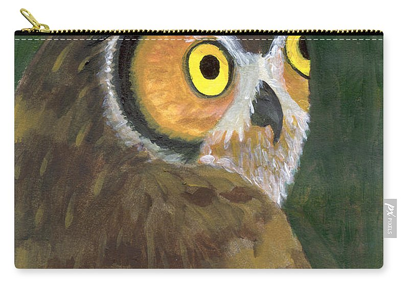 Owl Carry-all Pouch featuring the painting Owl 2009 by Lilibeth Andre