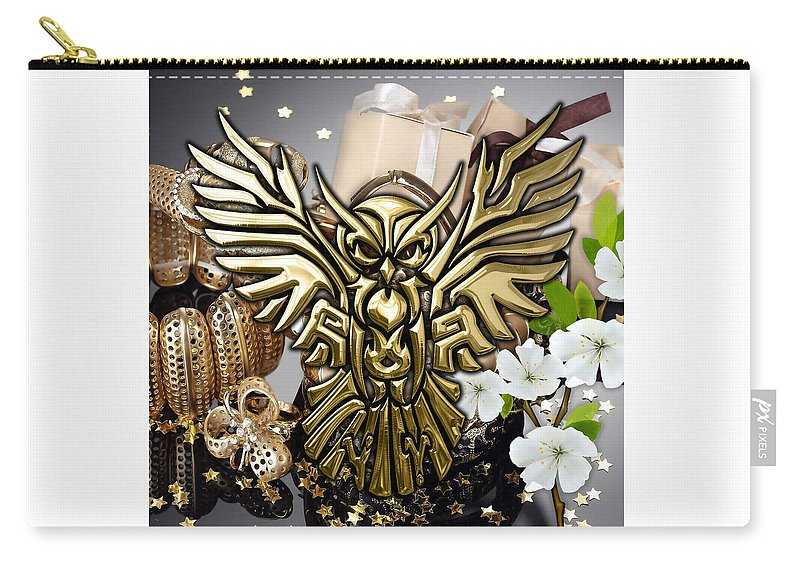 Owl Carry-all Pouch featuring the mixed media Owl In Flight Collection by Marvin Blaine