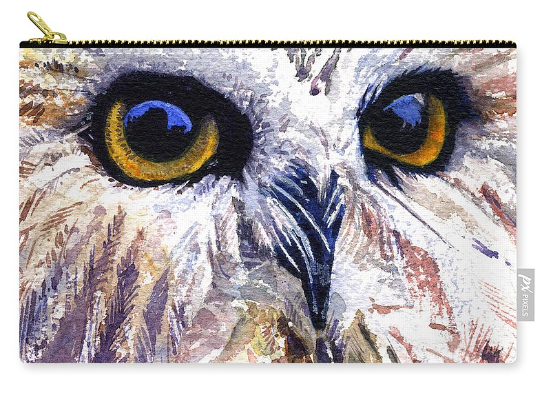 Eye Carry-all Pouch featuring the painting Owl by John D Benson