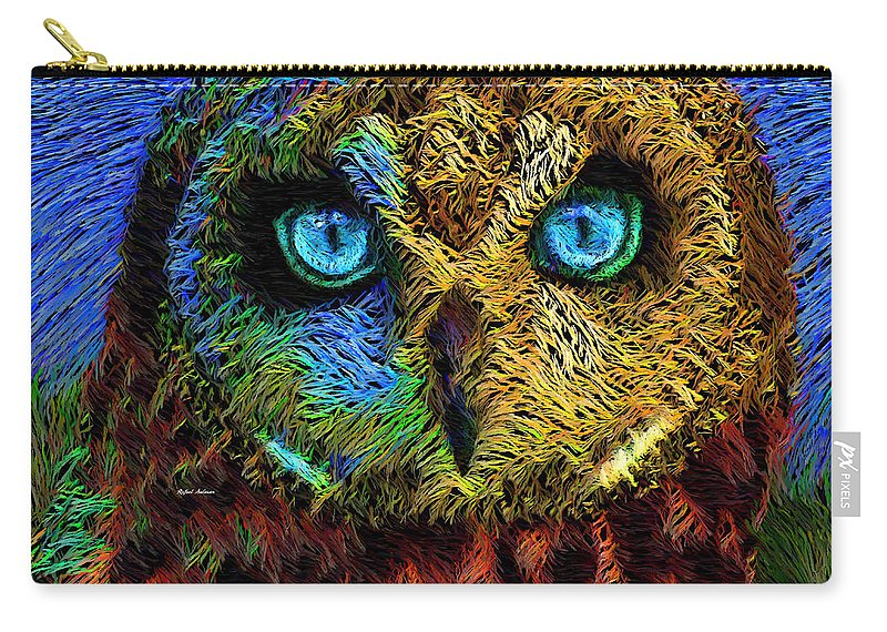 Rafael Salazar Carry-all Pouch featuring the digital art Owl by Rafael Salazar