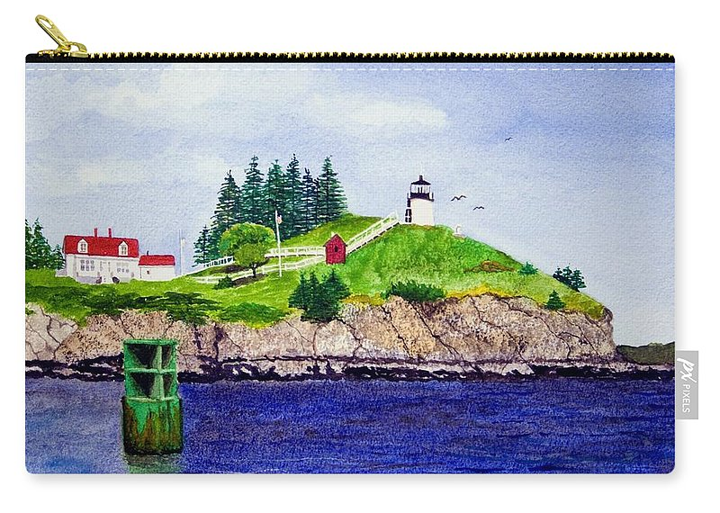 Lighthouse Carry-all Pouch featuring the painting Owls Head Lighthouse by Mike Robles