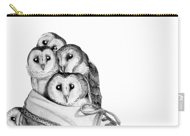 Owl Carry-all Pouch featuring the painting Owls in a Shoe by Melissa A Benson
