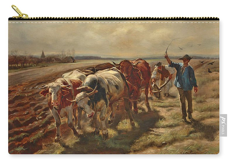 Rosa Bonheur Carry-all Pouch featuring the painting Oxen Plowing by Rosa Bonheur