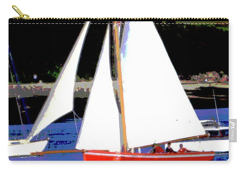 Bowsprit Carry-all Pouch featuring the mixed media Oyster Boats by Brian Roscorla