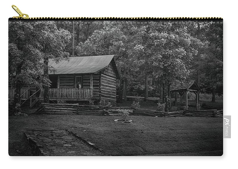 Cabin Carry-all Pouch featuring the photograph Ozark Cabin by Larry Pegram