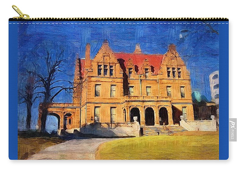 Architecture Carry-all Pouch featuring the digital art Pabst Mansion by Anita Burgermeister