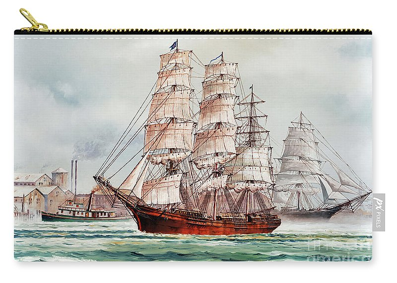 Tall Ship Print Carry-all Pouch featuring the painting Pacific Fleet by James Williamson
