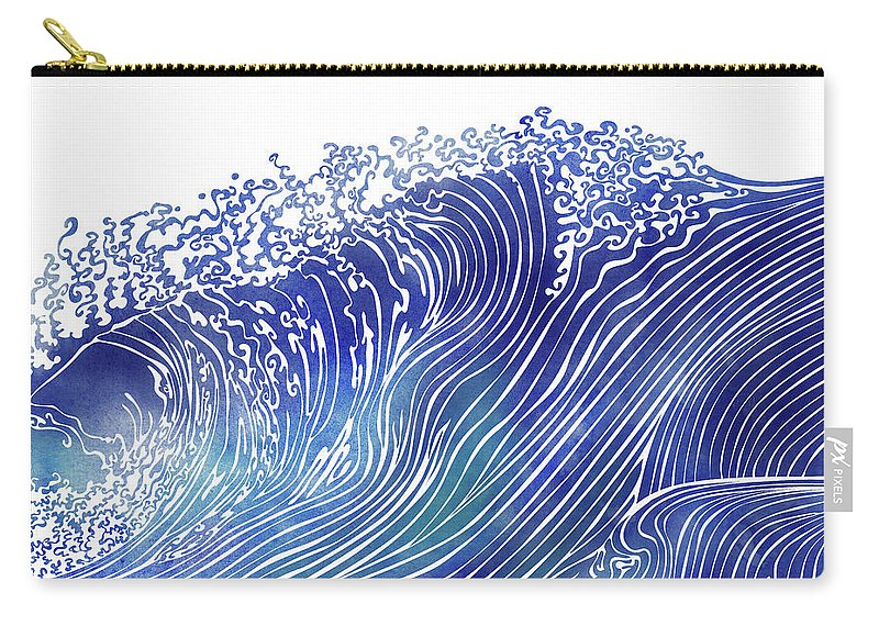 Swell Carry-all Pouch featuring the mixed media Pacific Waves by Stevyn Llewellyn