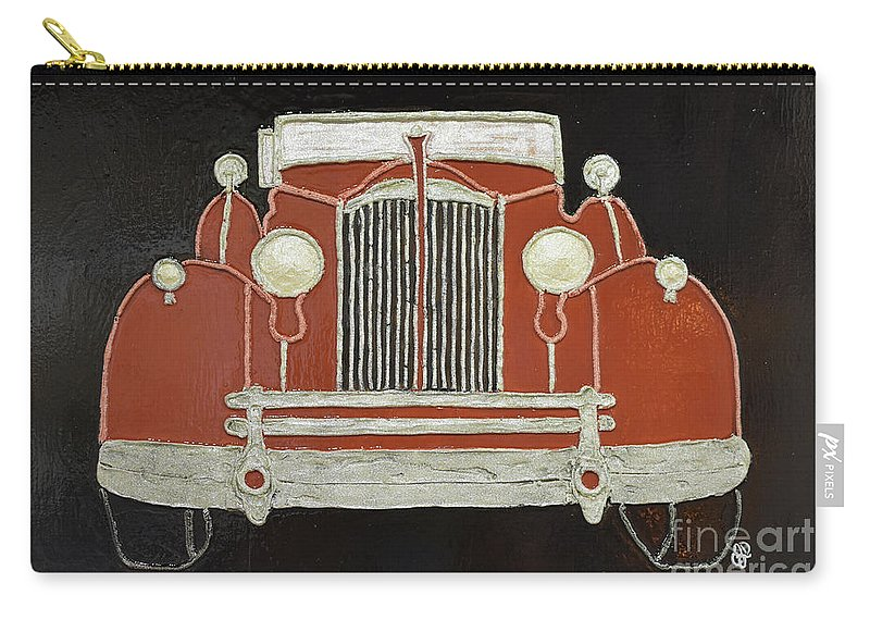 Packard 1937 Red Carry-all Pouch featuring the painting Packard 1937 Red by Christine Dekkers