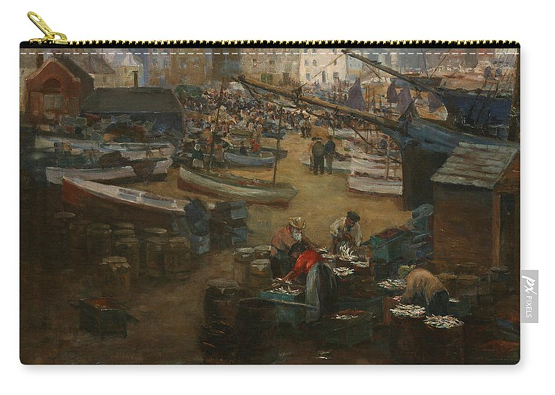Fish Market Carry-all Pouch featuring the painting Packing Fish  St Ives by Gwendoline Margaret Hopton