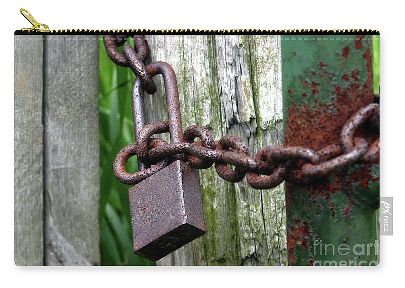 Abstract Carry-all Pouch featuring the photograph Padlocked Gate by Alan Look