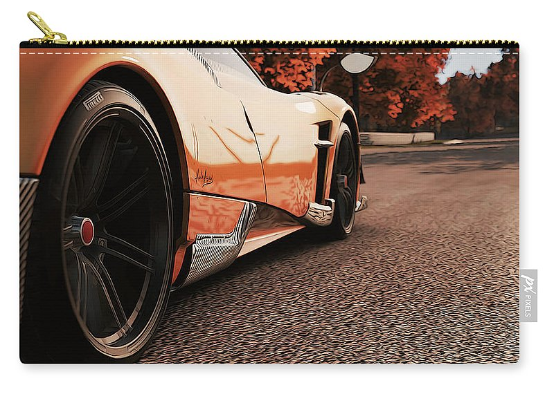 Pagani Carry-all Pouch featuring the photograph Pagani Huayra - Monza In Autumn by Andrea Mazzocchetti