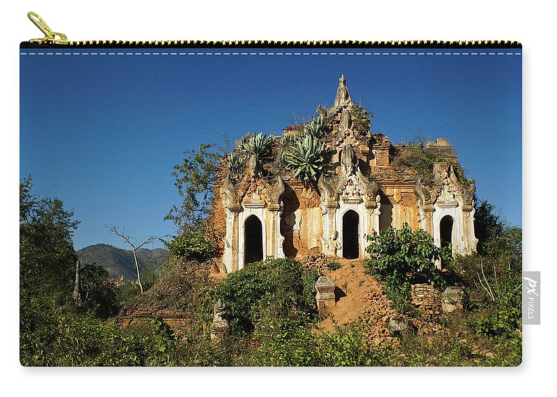 Asia Carry-all Pouch featuring the photograph Pagoda In Ruins by Michele Burgess