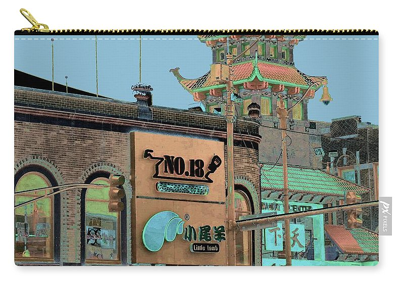 China Town Carry-all Pouch featuring the photograph Pagoda Tower Chinatown Chicago by Marianne Dow