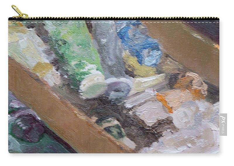 Paint Tubes Carry-all Pouch featuring the painting Paint Box by Alicia Drakiotes