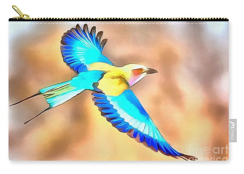 Painted Birds In Skyline Carry-all Pouch featuring the painting Painted Birds In Skyline by Catherine Lott