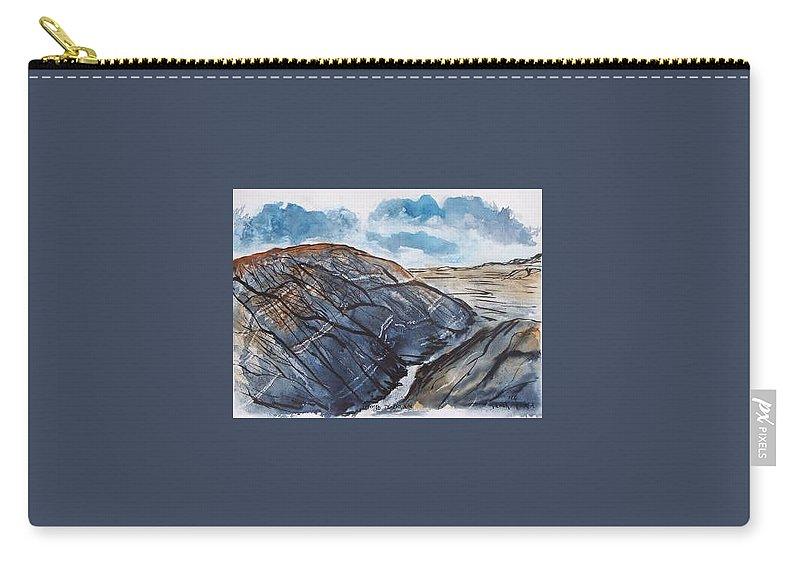 Plein Air Carry-all Pouch featuring the painting Painted Desert Landscape Mountain Desert Fine Art by Derek Mccrea