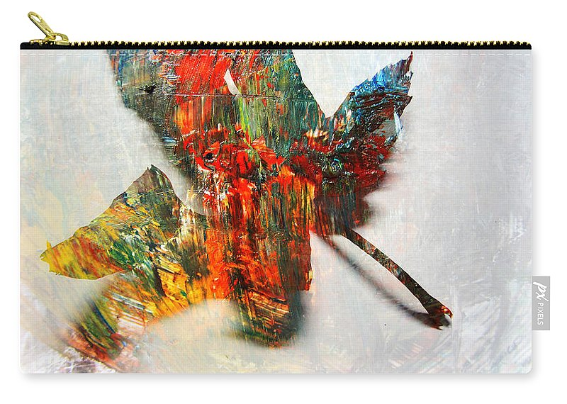 Leaf Carry-all Pouch featuring the photograph Painted Leaf Abstract 2 by Anita Burgermeister