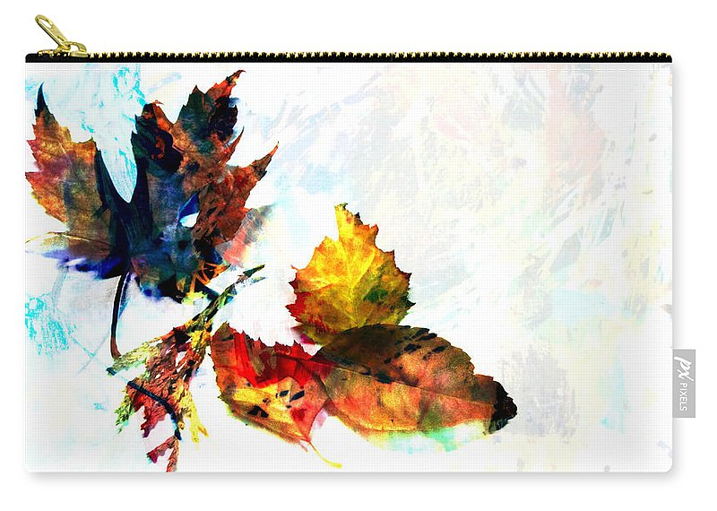 Leaf Carry-all Pouch featuring the photograph Painted Leaves Abstract 2 by Anita Burgermeister