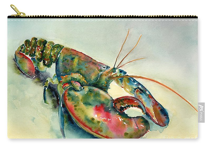 Lobster Carry-all Pouch featuring the painting Painted Lobster by Amy Kirkpatrick