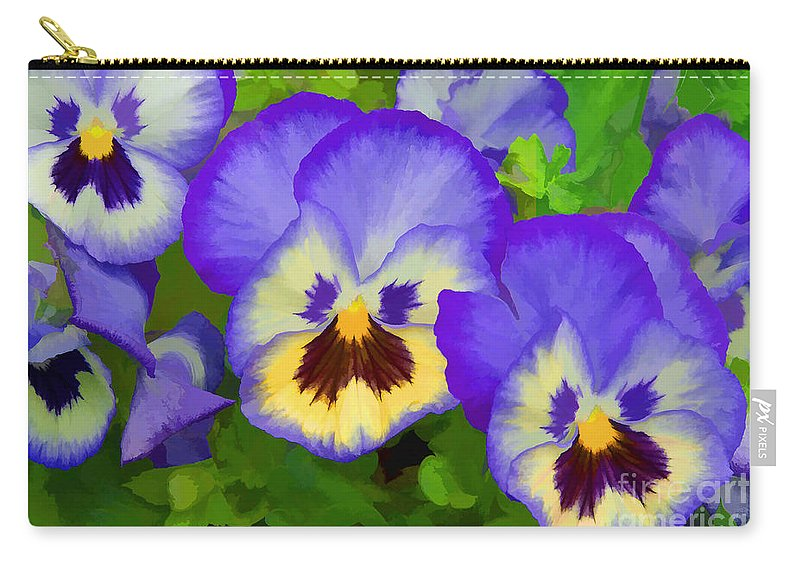 Pansies Carry-all Pouch featuring the photograph Painterly Pansies by Regina Geoghan