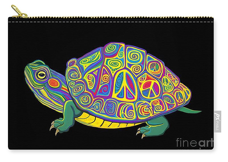 Turtle Carry-all Pouch featuring the digital art Painted Peace Turtle Too by Nick Gustafson