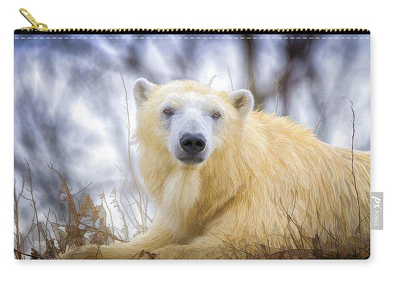 Polar Bear Carry-all Pouch featuring the photograph Painted Polar Bear by LeeAnn McLaneGoetz McLaneGoetzStudioLLCcom