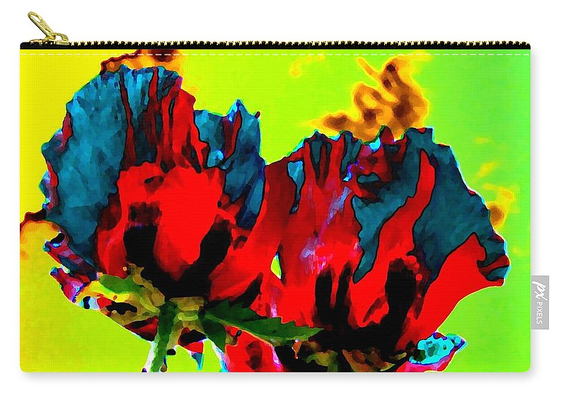 Poppies Carry-all Pouch featuring the digital art Painted Poppies by Will Borden