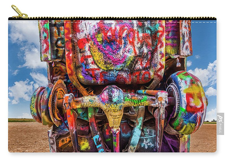 Cadillac Ranch Carry-all Pouch featuring the photograph Painted Rear End by Kelley King