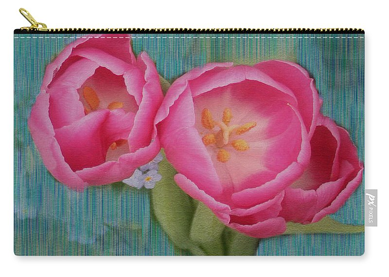 Flowers Carry-all Pouch featuring the photograph Painted Tulips by Linda Sannuti