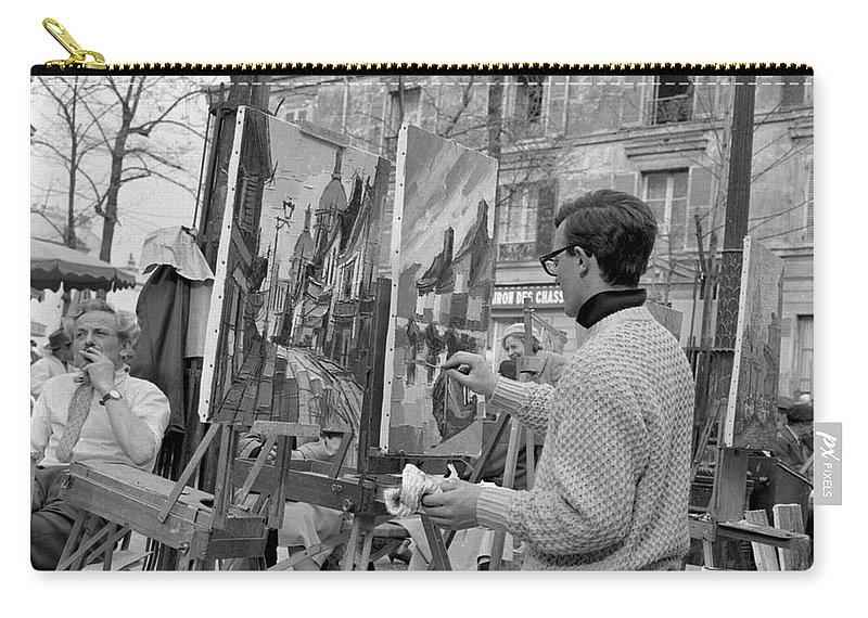 Montmartre Carry-all Pouch featuring the photograph Painters In Montmartre, Paris, 1977 by French School