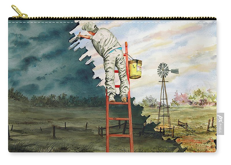 Landscape Carry-all Pouch featuring the painting Paintin Up A Storm by Sam Sidders