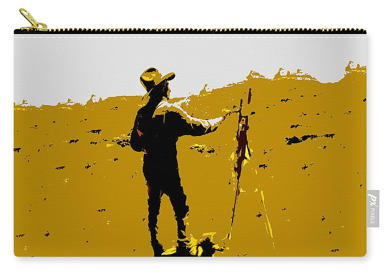 Painting Carry-all Pouch featuring the painting Painting Cowboy by David Lee Thompson