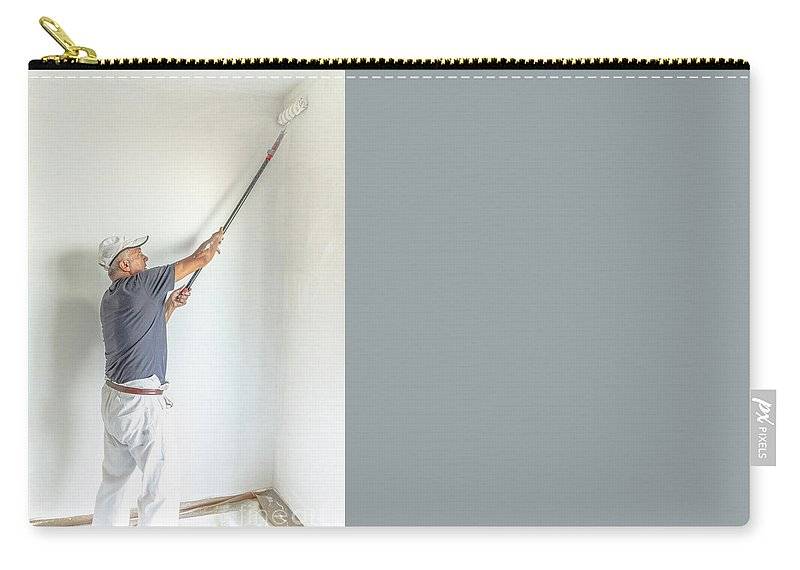Whitewasher Carry-all Pouch featuring the photograph Painting White Wall by Benny Marty
