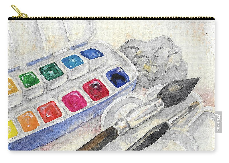 Paints Carry-all Pouch featuring the painting Paints by Yana Sadykova