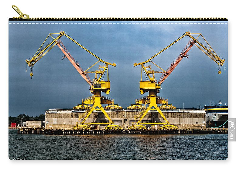 Cranes Carry-all Pouch featuring the photograph Pair Of Cranes by Christopher Holmes