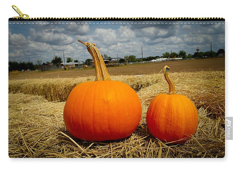 Pumpkin Carry-all Pouch featuring the photograph Pair Of Perfect Pumpkins by Marisela Mungia