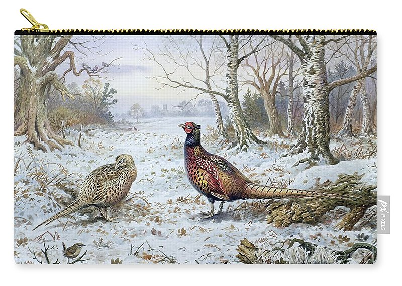 Game Bird; Snow; Woodland; Perdrix; Faisan; Troglodyte; Pheasant; Pheasants; Tree; Trees; Bird; Animals Carry-all Pouch featuring the painting Pair Of Pheasants With A Wren by Carl Donner