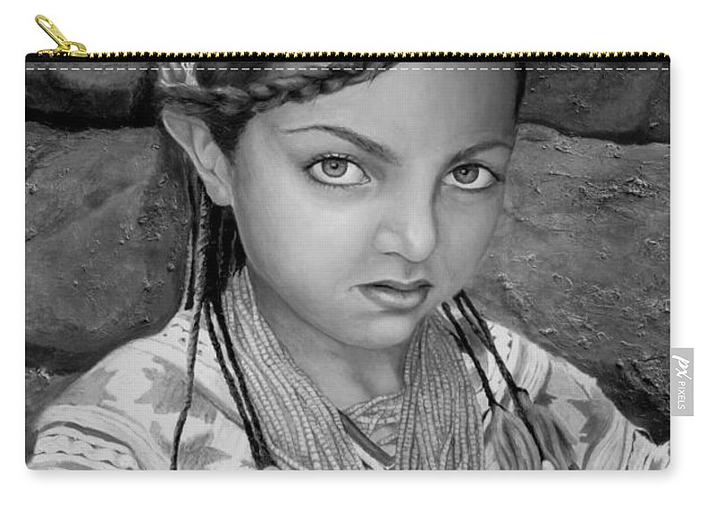 People Portraits Carry-all Pouch featuring the painting Pakistani Girl by Portraits By NC