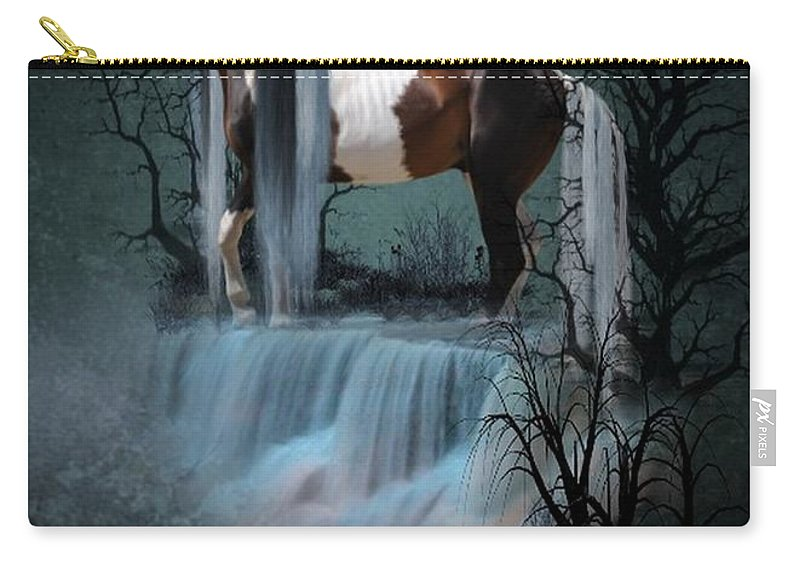 Fantasy Carry-all Pouch featuring the digital art Pinto Falls by Ali Oppy