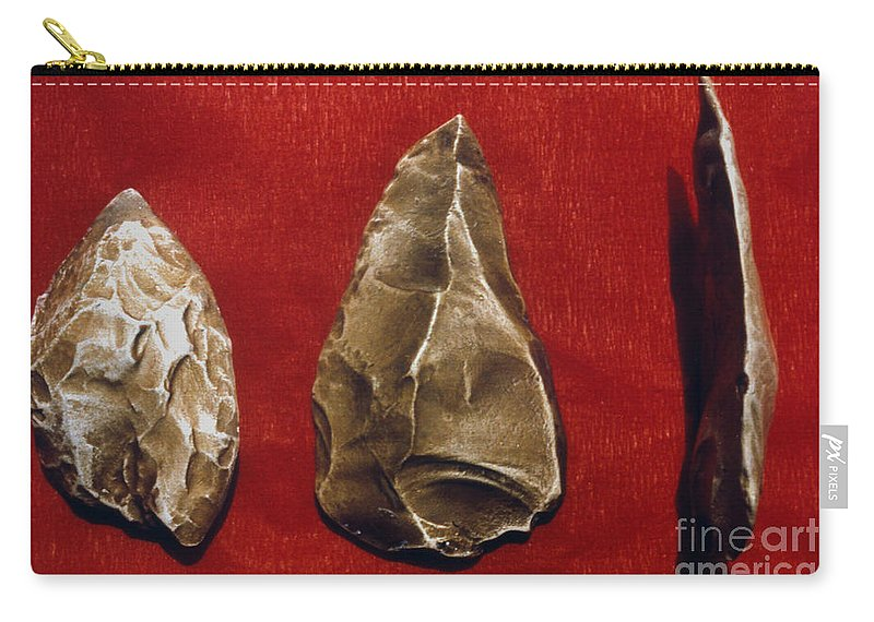 Ancient Carry-all Pouch featuring the photograph Paleolithic Tools by Granger