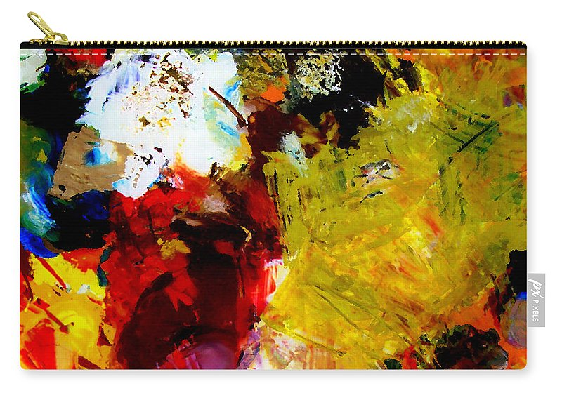 Rustic Carry-all Pouch featuring the painting Palette Abstract Square by Michelle Calkins