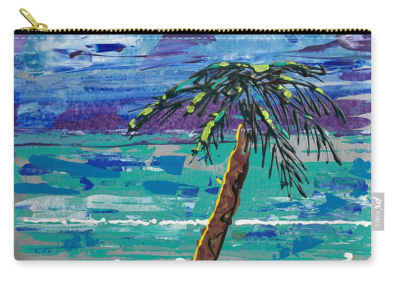 Palm Tree Carry-all Pouch featuring the painting Palm Beach by J R Seymour