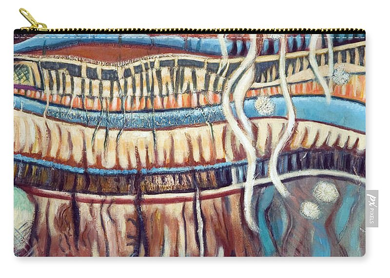 Abstract Carry-all Pouch featuring the painting Palm Contractions by Kerryn Madsen-Pietsch