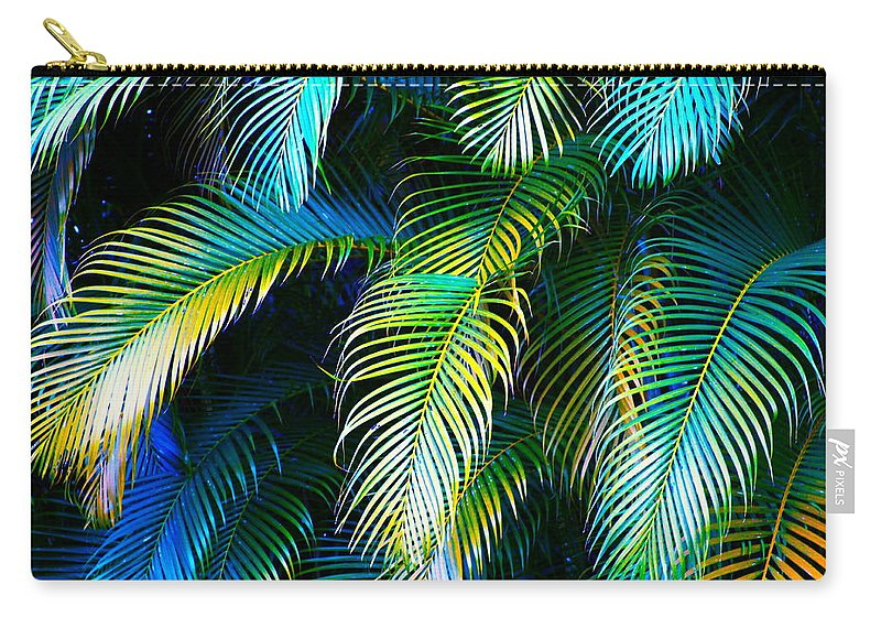 Blue Carry-all Pouch featuring the photograph Palm Leaves in Blue by Karon Melillo DeVega